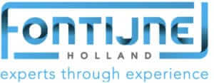 Logo of Fontijne Holland with blue font