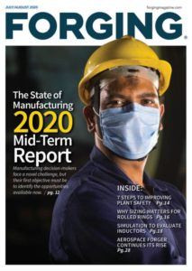 Cover of Forging magazine showing a man with mouth protection and a helmet